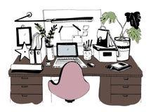 Творческое современное рабочее место с компьтер-книжкой Стоковое Изображение RF