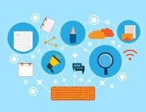 Творческое содержимое сочинительство, Blogging столб, иллюстрация средств массовой информации цифров плоская иллюстрация вектора