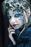 творческо составьте женщину большая яркая отливка подрезывая удлиненную сеть паука тени тайны лунного света венчика гибкостей пир стоковая фотография rf