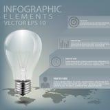 Творческую иллюстрацию электрической лампочки, можно использовать для infographics, иллюстрации вектора концепции Стоковые Изображения RF