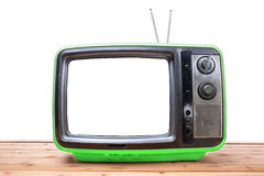 ТВ года сбора винограда на деревянной таблице Стоковое Изображение