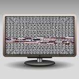 ТВ с небольшим затруднением для предпосылки и знамени Стоковые Фото