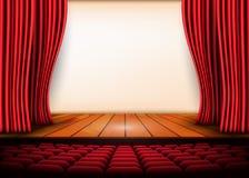 Театральная сцена с красными занавесами и деревянным полом вектор пользы штока иллюстрации конструкции ваш иллюстрация вектора