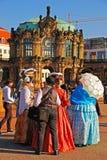 Театральные актеры в дворце Zwinger Стоковое фото RF