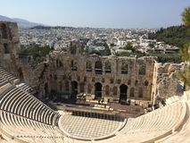 Театр в акрополе Афин Стоковая Фотография