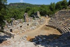 Театр в старом Phaselis, Турции. Стоковые Фото