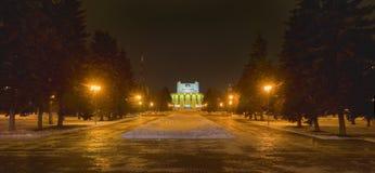 Театр драмы положения Челябинска академичный названный после n Orlov Панорама ночи зимы стоковое фото rf