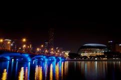 Театр и городской пейзаж эспланады на Сингапуре Стоковые Изображения RF