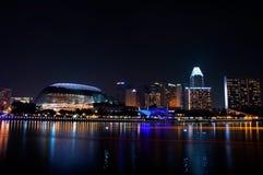 Театр и городской пейзаж эспланады на Сингапуре Стоковое фото RF