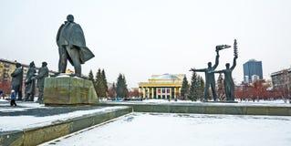 Театр оперы и балета и скульптурный состав novosibirsk Стоковое Изображение RF