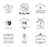 Театр, писатель, литература Комплект ярлыков и значков бесплатная иллюстрация