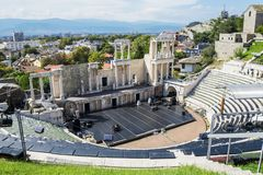 Театр Пловдива римский стоковые фотографии rf