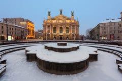 Театр положения Львова академичный оперы и балета стоковая фотография