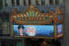Театр El Capitan отличая объявлением Mary Poppins Стоковое фото RF