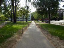 Театр Tercentenary и университет Hall, двор Гарварда, Гарвардский университет, Кембридж, Массачусетс, США стоковое изображение