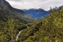 Теките в долине на дороге Milford, Новой Зеландии Стоковые Изображения RF