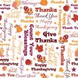 Текста благодарения вектора картина счастливого безшовная Стоковые Фотографии RF