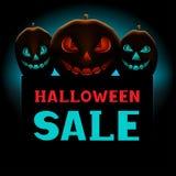 Текстовое сообщение и тыквы продажи хеллоуина Стоковое фото RF