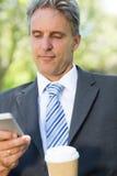 Текстовое сообщение чтения бизнесмена на парке Стоковые Изображения
