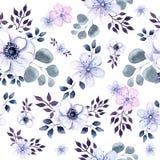 Текстура акварели безшовная цветков и вегетации ветреницы Стоковые Изображения RF