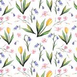 Текстура акварели весны безшовная Стоковые Изображения RF