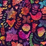 Текстура акварели с цветками и птицами. Скопируйте тот квадрат к th Стоковые Фото