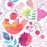Текстура акварели с цветками. Скопируйте тот квадрат к стороне и иллюстрация вектора