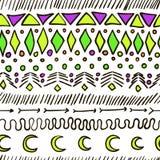 Текстура безшовного вектора геометрическая племенная Стоковые Изображения