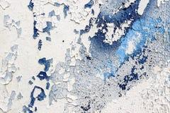 Текстура белой старой стены с голубой краской Стоковое Изображение RF