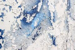 Текстура белой старой стены с голубой краской Стоковое фото RF
