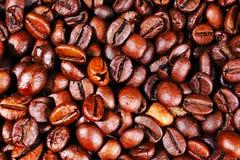 текстура близкого кофе горизонтальная вверх Зажаренные в духовке кофейные зерна как обои предпосылки Иллюстрация фасоли cofee кра Стоковые Фотографии RF
