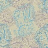 Текстура вектора безшовная с завитыми абстрактными листьями и цветками элементов Стоковые Изображения
