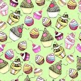 Текстура вектора безшовная с милым тортом Иллюстрация штока