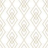 Текстура вектора золотая геометрическая Безшовная картина с тонкими линиями, диамантами бесплатная иллюстрация