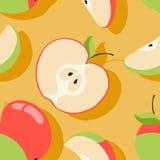 Текстура вектора с мотивом яблока Стоковое Изображение