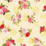 Текстура вектора элегантности с розами Стильная красивейшая флористическая безшовная картина Бесплатная Иллюстрация