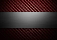 Текстура волокна углерода с польской металлической пластиной в центре Стоковые Изображения RF
