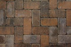 Текстура вымощая камней красного кирпича Стоковое Изображение