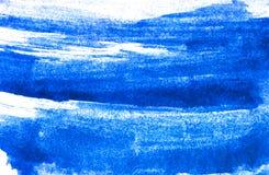 Текстура голубой краски акварели на белой бумаге Горизонтальная предпосылка watercolour Стоковые Изображения