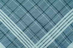 Текстура голубой ткани шотландки Стоковое Фото