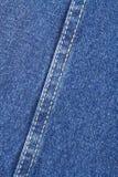 Текстура ткани голубых джинсов с стежком Стоковые Изображения RF