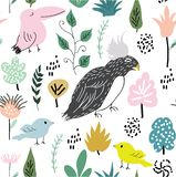 Текстура джунглей с птицами и элементами джунглей Безшовная иллюстрация вектора картины иллюстрация штока