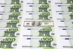 Текстура 100 евро и долларов Стоковые Изображения