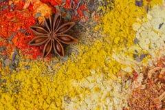 Текстура естественных специй и трав Яркий красочный комплект Здоровая концепция образа жизни, абстрактная предпосылка с космосом  Стоковые Фото