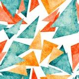 Текстура желтого цвета акварели, красных и голубых треугольников безшовная Стоковые Изображения RF
