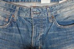 Текстура джинсовой ткани или фронт брюк демикотона для предпосылки Стоковые Фотографии RF