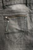 текстура задних черных детальных джинсыов карманная Стоковое Изображение