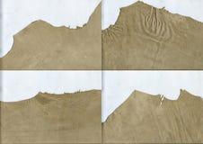 Текстура замши оборванных краев бежевая кожаная Стоковая Фотография RF