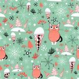 Текстура зимы с котами иллюстрация штока
