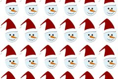 Текстура значков и элементов смешного плоского дизайна безшовная Картина упаковочной бумаги рождества и Нового Года Стоковое Изображение RF